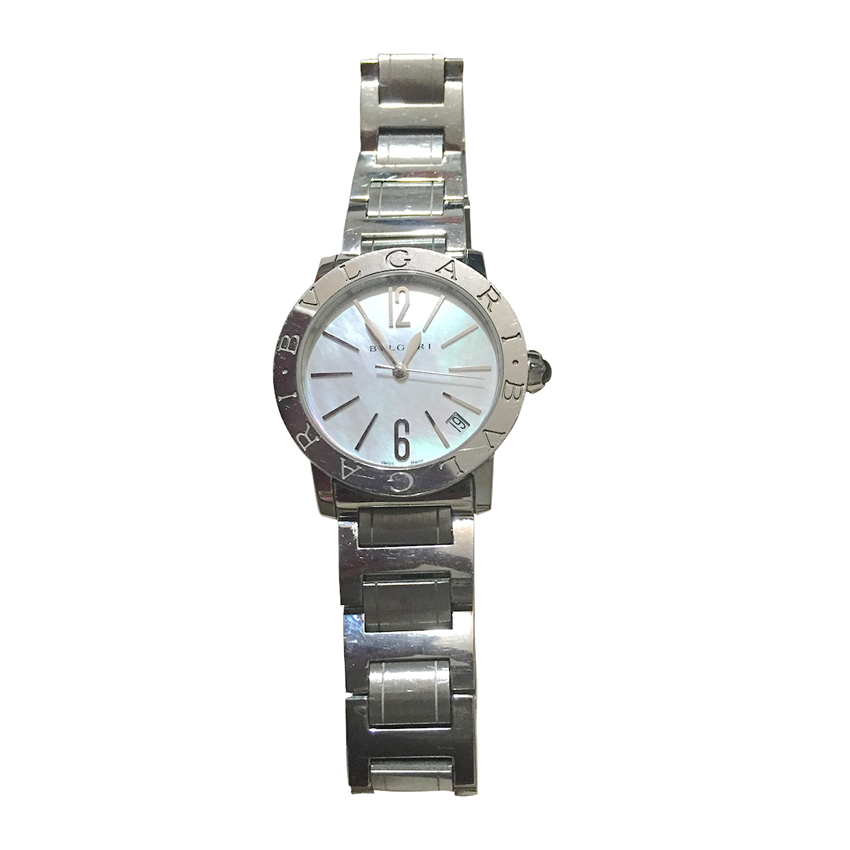 "Image of ""Bulgari Stainless Steel & Mother of Pearl Dial 33mm Womens Watch"""