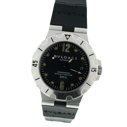 """Image of """"Bulgari Diagono Sd38 S Stainless Steel & Rubber 38mm Watch"""""""