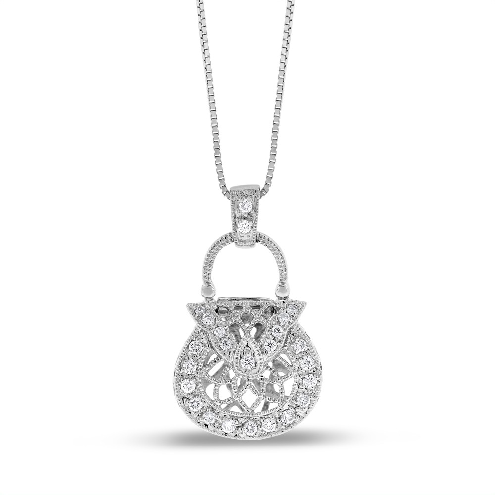 "Image of ""14k White Gold 0.20 Ct. Natural Diamond Fashion Purse Handbag Pendant"""