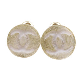 Chanel Plastic and Gold Tone Metal Coco Mark Earrings