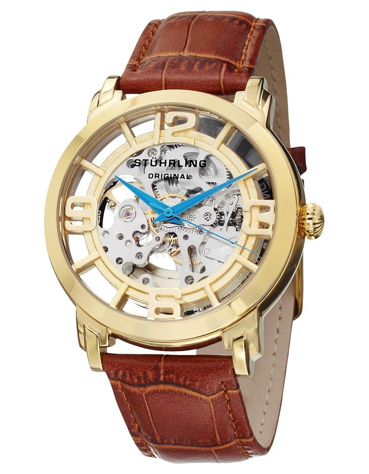 "Image of ""Stuhrling Winchester 165B2.3335K31 Gold-Tone Stainless Steel & Leather"""