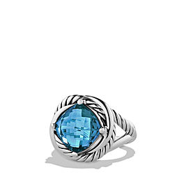 David Yurman Sterling Silver With Blue Topaz Infinity Ring Size 7