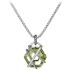 David Yurman Cable Sterling Silver Prasiolite and 0.13 Ct Diamond Wrap Necklace