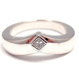 Cartier 18K White Gold Diamond Ballerine Band Ring Size 6.75