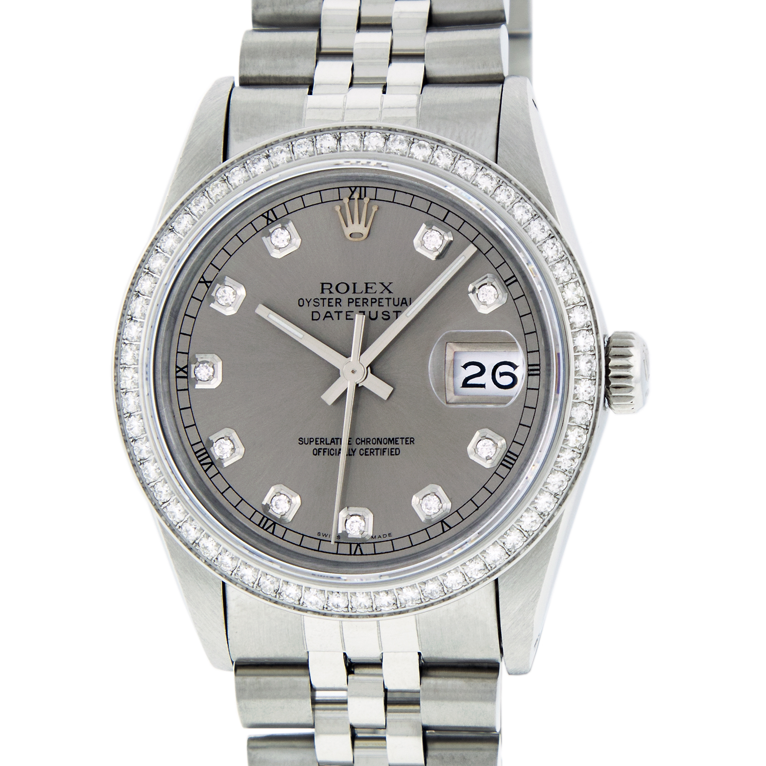 "Image of ""Rolex Datejust 16030 Stainless Steel Diamond 36mm Men Watch"""