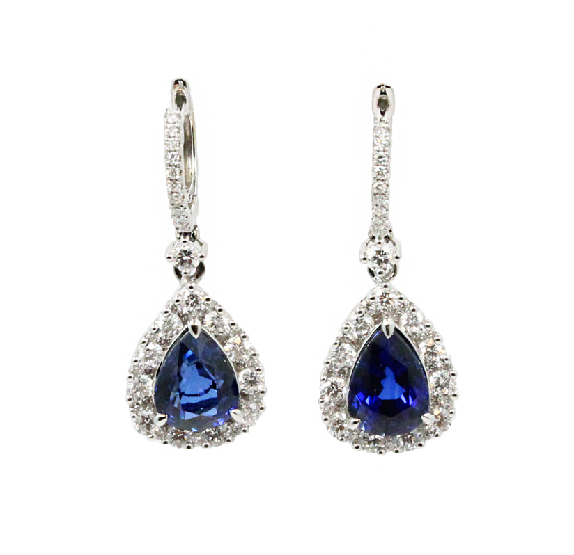 "Image of ""Gregg Ruth 18K White Gold Blue Sapphire and Diamonds Drop Earrings"""