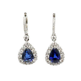 Gregg Ruth 18K White Gold Blue Sapphire and Diamonds Drop Earrings