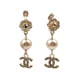 Chanel Gold Tone Flower CC Crystal Pearl Piercing Earrings