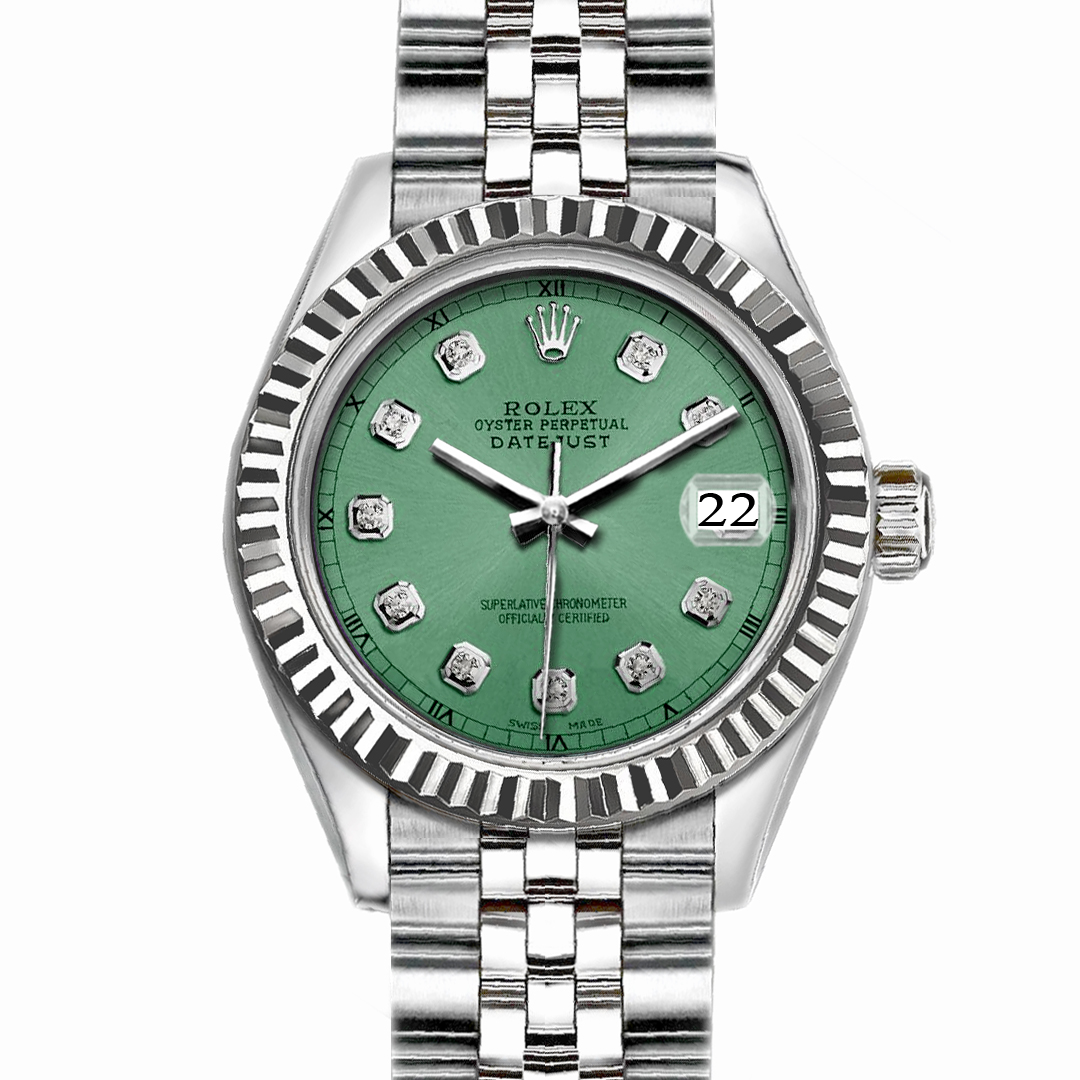 "Image of ""Rolex Datejust Stainless Steel with Light Green Dial 36mm Mens Watch"""
