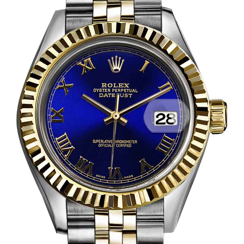 "Image of ""Rolex Datejust Stainless Steel and 18K Yellow Gold with Royal Blue"""