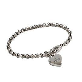 Gucci Sterling Silver Heart Logo Bracelet