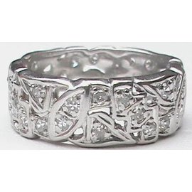 Platinum Diamond Wide Vintage Eternity Band Ring Size 7