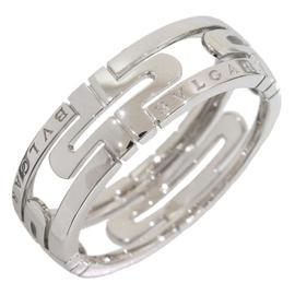 Bulgari 18K White Gold Parentesi Ring Size 11.75