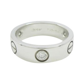 Cartier Love 18K White Gold Diamond Ring Size 6.25