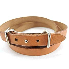 Hermes Silver Tone Hardware & Leather H Api Belt or Wrap Bracelet