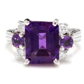 14K White Gold 4.4ct Natural Amethyst and 0.3ct Diamond Ring Size 7