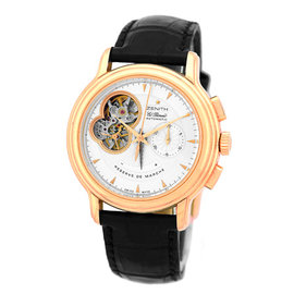 Zenith Chronomaster Open Power Reserve El Primero Chronograph 18K Rose Gold Strap Mens Watch