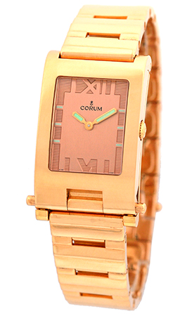 "Image of ""Corum Toboggan 18K Rose Gold Quartz 24mm Unisex Watch"""