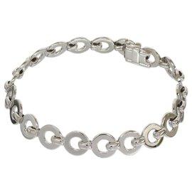 Chanel 18K White Gold Simple Design Charm Bangle Bracelet
