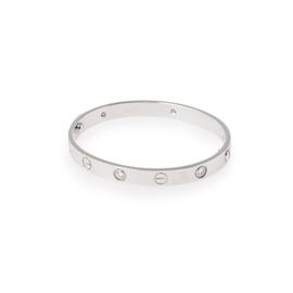 Cartier Love 18K White Gold Half Diamond Bangle Bracelet Size 16