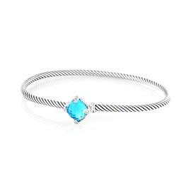David Yurman Chatelaine Sterling Silver Blue Topaz and 0.04 Ct Diamond Bracelet