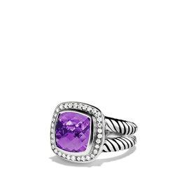 David Yurman Sterling Silver Amethyst & Diamonds Albion Ring Size 7