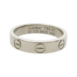 Cartier Mini Love 18K White Gold Ring Size 4