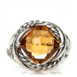 David Yurman Sterling Silver Citrine Infinity Ring Size 7.5