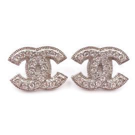 Chanel Silver Tone & Crystal Blinky CC Piercing Earrings