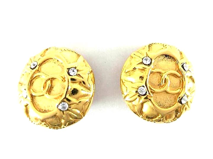 """Image of """"Chanel Gold-Tone Metal & Crystal CC Earrings"""""""