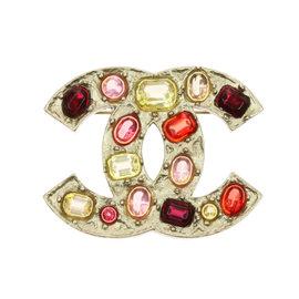 Chanel Gold Tone CC Logo Gripoix Glass Brooch