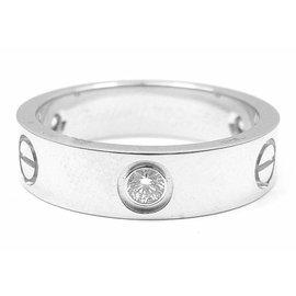 Cartier Love 18K White Gold Half Diamond Ring Size 4