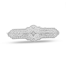 14k White Gold 0.05ct. Diamond Art Deco Pin Brooch