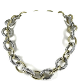 David Yurman Sterling Silver and 18K Bonded Yellow Gold Cable Classics Necklace