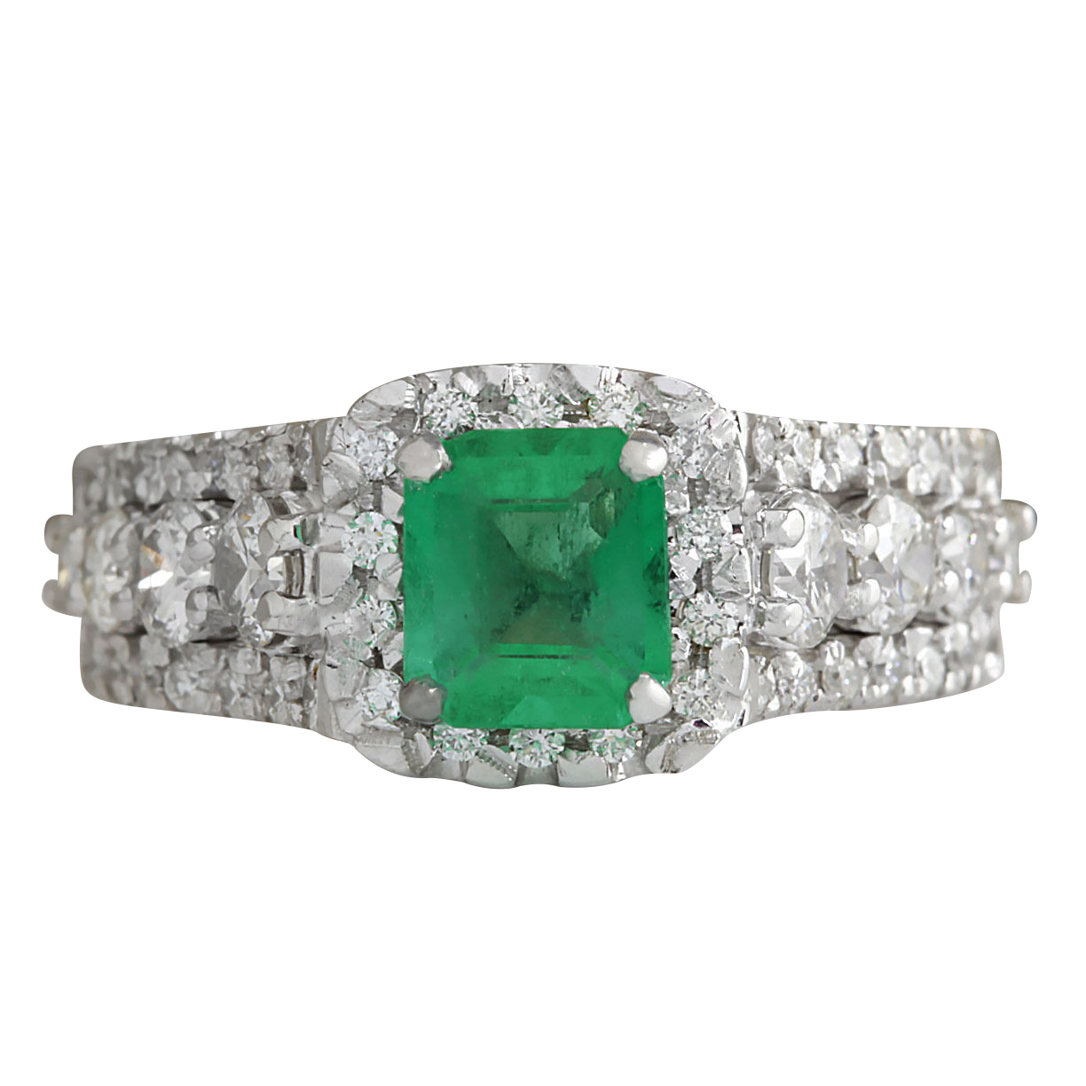 """""14K White G old Emerald Diamond Gold Ring Size 6.5"""""" 1555589"