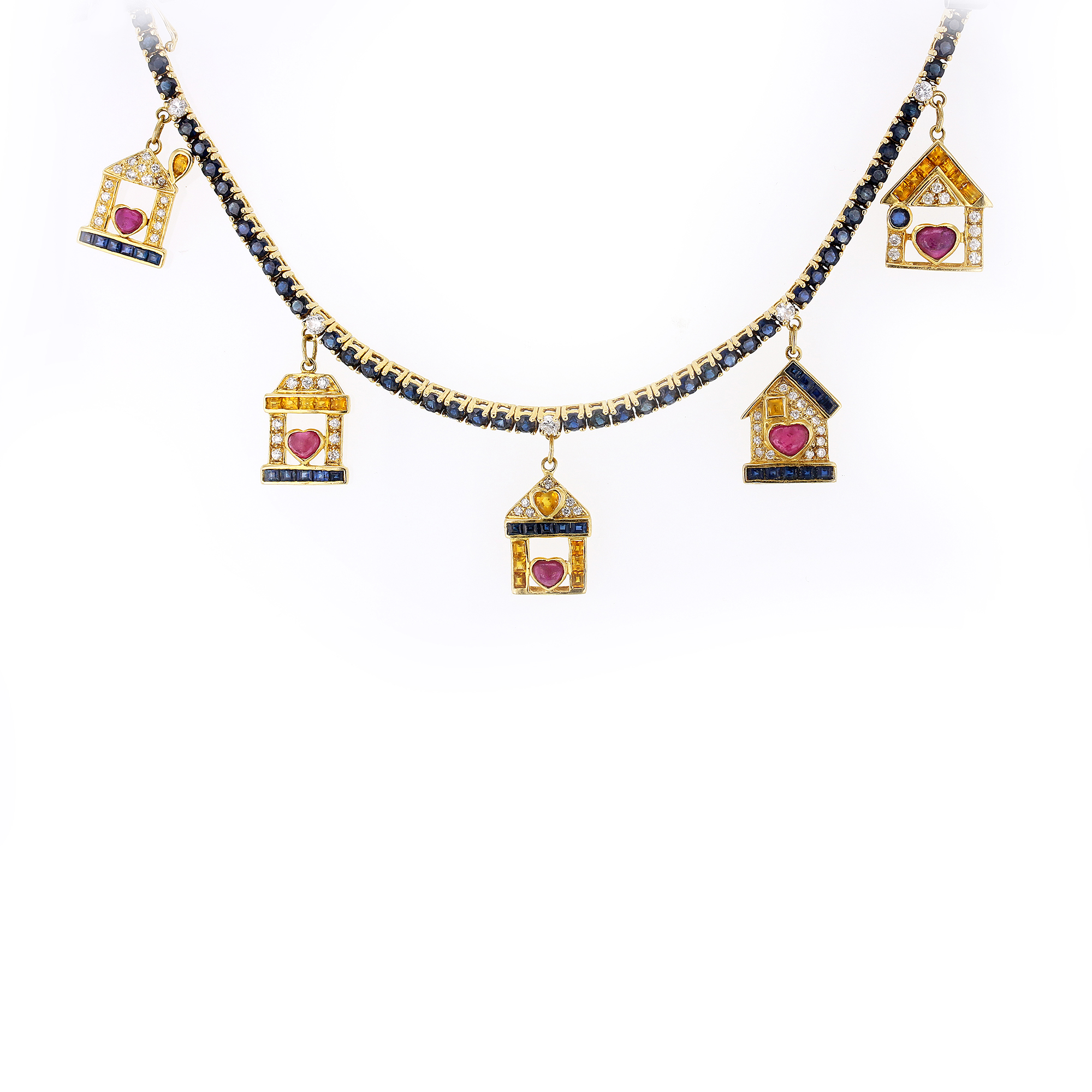 "Image of ""Sabbadini Gioielli 22K Yellow Gold Multi Precious Stones House Charms"""