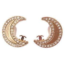 Chanel Gold Plated Moon Clip on Earrings