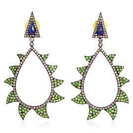 18K Gold & Sterling Silver Tsavorite, Sapphire & Diamonds Claw Earrings