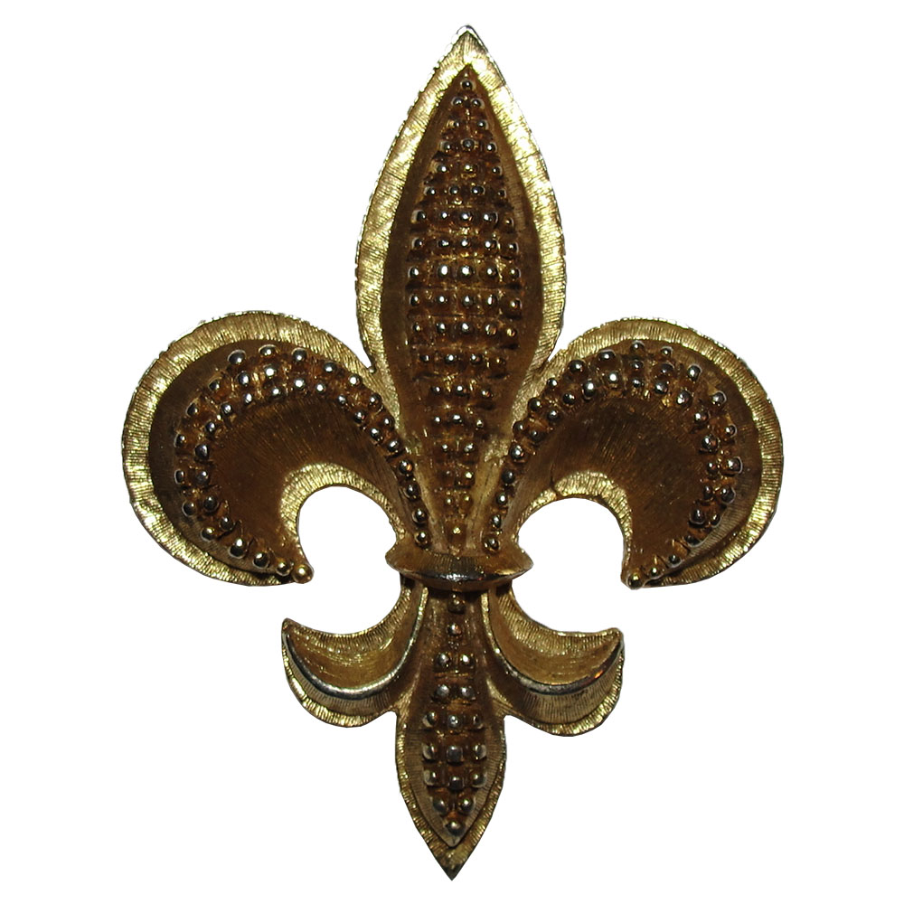 "Image of ""Oscar De La Renta 18K Gold Plated Fleur De Lis Pin Brooch"""