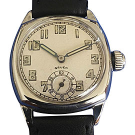 Gruen 14K White Gold & Silver Tone Dial 32mm 1920 Mens Vintage Watch
