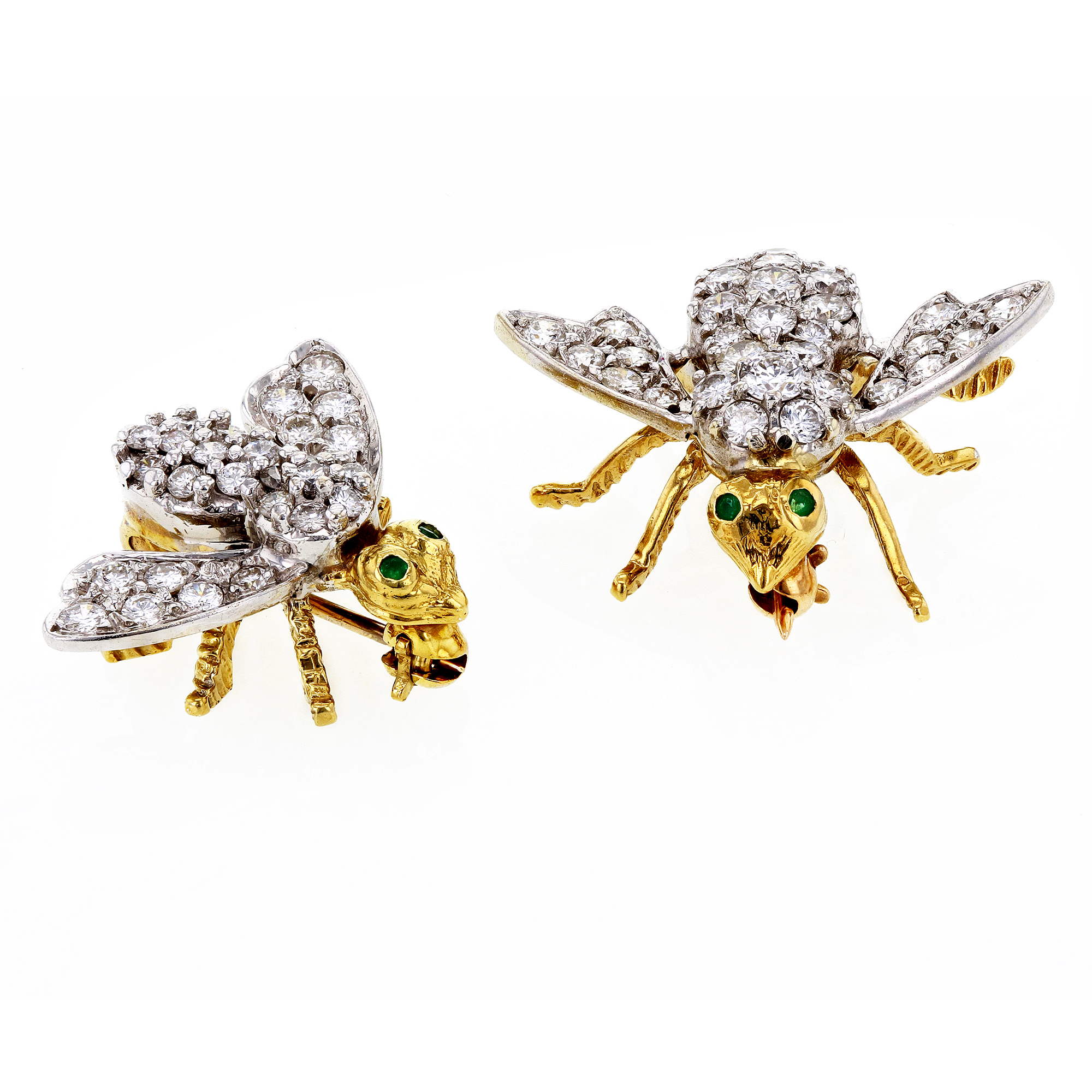 "Image of ""Hammerman Brothers 18K Yellow Gold & Diamond Double Bees Brooches"""