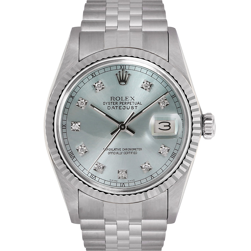 """Image of """"Rolex Datejust 18K White Gold & Stainless Steel Diamond 36mm Watch"""""""