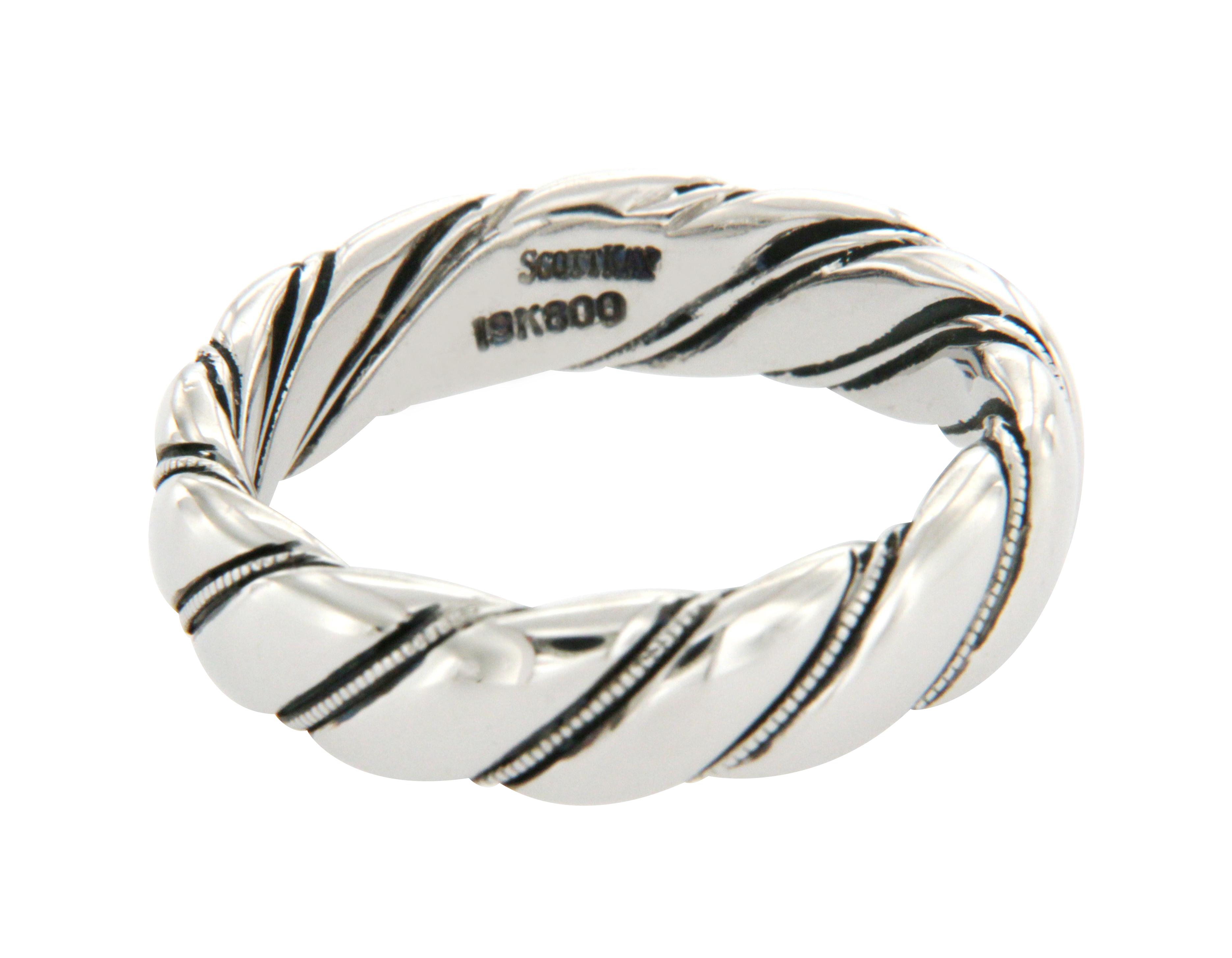 """Image of """"Scott Kay 19K White Gold Wedding Band Ring Size 10.5"""""""