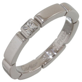Cartier 18K White Gold Mailon Panthere 1P Diamond Ring Size 3.75