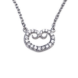 18K White Gold with 0.69ct. Diamond Heart Pendant Necklace
