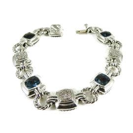 David Yurman Sterling Silver .51tcw Hampton Blue Topaz Pave Diamond Renaissance Bracelet