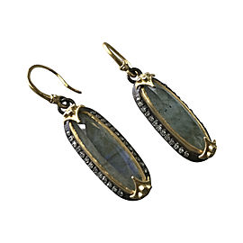 Armenta 18K Yellow Gold and Blackened Sterling Silver Labradorite & Diamond Earrings