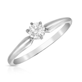 14K White Gold 0.25ct Diamond Engagement Ring Size 6.5