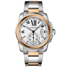 Cartier Calibre de Cartier Steel & Rose Gold Watch White Roman Dial W7100042