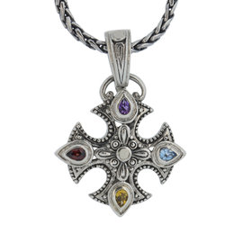 Effy Balissima Two Tone Multi Colored Gemstone Cross Necklace